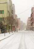 Snowfall in the Bulgarian Pomorie, on December 31 Royalty Free Stock Photo