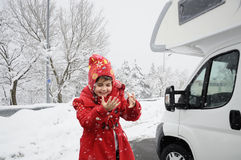 Snowfall child Royalty Free Stock Photography