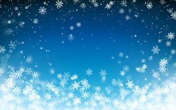 Free Snowfall Christmas Background. Flying Snow Flakes On Night Winter Blue Sky Background. Winter Wite Snowflake Template. Vector Royalty Free Stock Image - 158539526