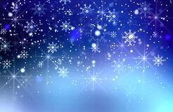 Beautiful Blue,nave Abstract Snowfall Christmas background. Flying snow flakes and stars on winter blue  background.