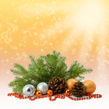 Snowfall and Christmas composition. Rustic style. royalty free stock photo