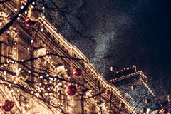 Snowfall during christmas night in europe town Royalty Free Stock Photos