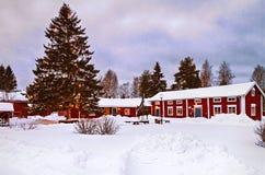 Snowfall in sweden village Stock Image