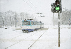 A snowfall in a city. Royalty Free Stock Photography