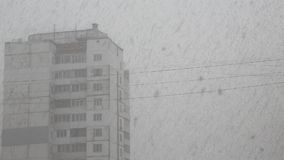 Snowfall in city stock video footage