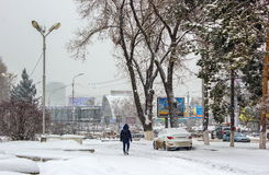 Snowfall in the city. Stock Photo