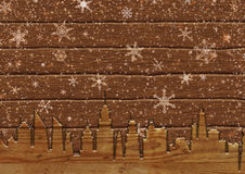 Snowfall in city on boards. Illustration of snowfall in city on boards Royalty Free Stock Photos