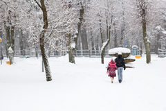 Snowfall in city Stock Photos