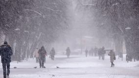 Snowfall in the city, people walking on snowy road. Blizzard, snowstorm.  stock video footage