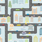 Snowfall in city seamless pattern. Urban map of winter. Backgrou Stock Photography