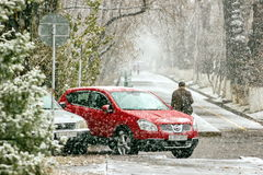 Snowfall in the city. royalty free stock image