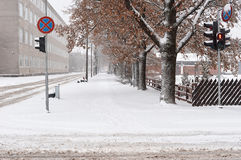 Snowfall in the city streets Royalty Free Stock Photo