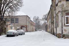 Snowfall in the city streets Royalty Free Stock Image