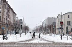 Snowfall in the city streets Royalty Free Stock Photography