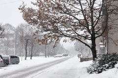 Snowfall in the city streets Royalty Free Stock Images