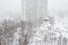 Snowfall in city Royalty Free Stock Photography