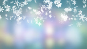 Snowfall on colorful background Stock Images