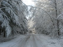 Snowfall on cottage road royalty free stock photography