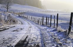 Snowfall in countryside Stock Photos