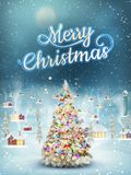 Snowfall covered little village with tree. EPS 10. Christmas scene, snowfall covered little village with tree. EPS 10 vector file included Royalty Free Stock Images