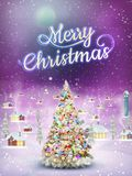 Snowfall covered little village with tree. EPS 10. Christmas scene, snowfall covered little village with tree. EPS 10 vector file included Stock Image