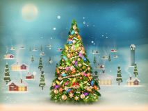 Snowfall covered little village with tree. EPS 10. Christmas scene, snowfall covered little village with tree. EPS 10 vector file included Stock Images