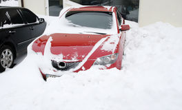 Snowfall extremely situation, cars in the snow Stock Photo