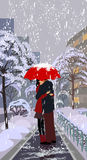 Snowfall and fall in love Stock Image