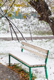 Snowfall and first snow on bench in city park Royalty Free Stock Image