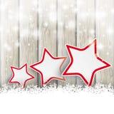 Snowfall Glitter 3 Stars Ash Wooden Background Royalty Free Stock Photo