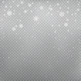 Snowfall on gray transparent background stock illustration