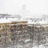 Snowfall in Helsinki Stock Photo