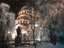 Snowfall and Hoarfrost at Saint Sava Cathedral in Belgrade. Belgrade, Serbia -January 26, 2017: Snowfall starts at Saint Sava Cathedral at night in the center of Stock Images