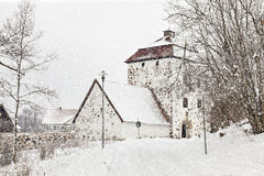 Snowfall at Hovdala Royalty Free Stock Images