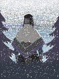 Snowfall i skogen stock illustrationer