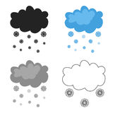 Snowfall icon in cartoon style isolated on white background. Weather symbol stock vector illustration. Snowfall icon in cartoon style isolated on white Stock Images