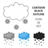 Snowfall icon in cartoon style isolated on white background. Weather symbol stock vector illustration. Snowfall icon in cartoon style isolated on white Royalty Free Stock Image