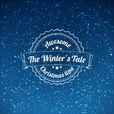 Snowfall illustration with vintage badge. On blue background Royalty Free Stock Photo