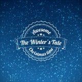 Snowfall illustration with vintage badge Royalty Free Stock Photo