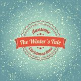 Snowfall illustration with vintage badge. With retro colors Royalty Free Stock Images