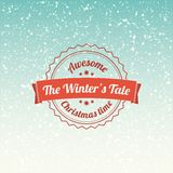 Snowfall illustration with vintage badge. With retro colors Stock Photos