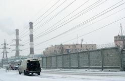 Snowfall in an industrial zone Royalty Free Stock Images