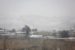 Snowfall in Jerusalem Stock Photo