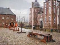 Snowfall in Kasteel Hoensbroek, Royalty Free Stock Image