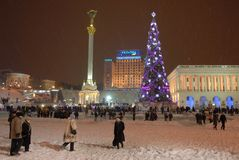 Snowfall in Kiev. Royalty Free Stock Photos