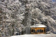 Snowfall kioski. Into the snowy forest in macedonia, Greece Royalty Free Stock Photo