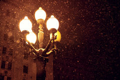Snowfall and lantern Royalty Free Stock Photo