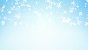 Snowfall on light blue background Royalty Free Stock Photos