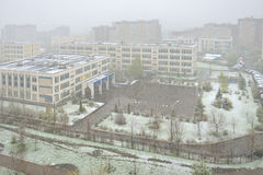 Snowfall in middle of May. Moscow Royalty Free Stock Photo