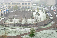 Snowfall in middle of May. Moscow Stock Photos